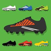 stock photo of flat-foot  - Soccer shoes icons set with shadow on green background - JPG