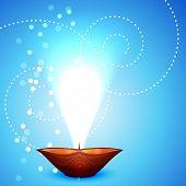 stock photo of diya  - Vector diwali diya  background - JPG