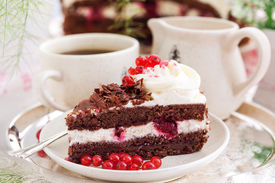 image of black-cherry  - Piece of fresh homemade Black Forest cake with cherry and chocolate - JPG