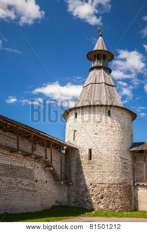Stone Tower And Walls Of Old Fortr. Kremlin Of Pskov