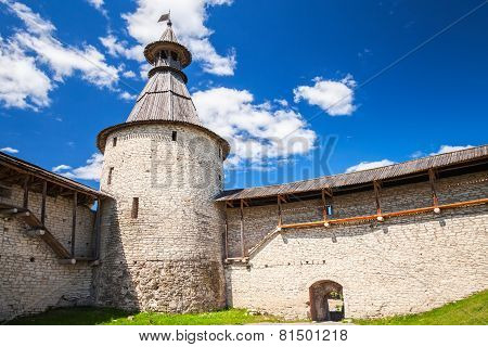 Tower And Walls Of Old Fortress. Kremlin Of Pskov