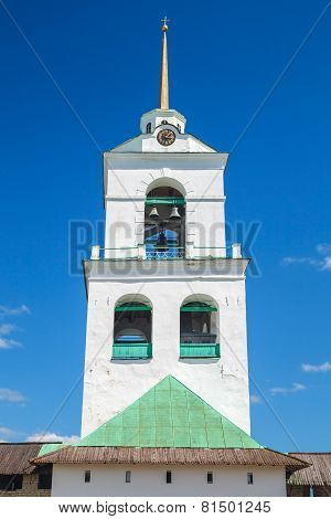 Bell Tower Of The Trinity Cathedral Located In Pskov