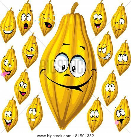Set of Cartoon Cocoa Pod With Many Facial Expressions Isolated On White Background
