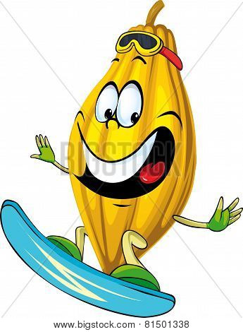 Cartoon Cocoa Pod Character Surfing Isolated On White Background