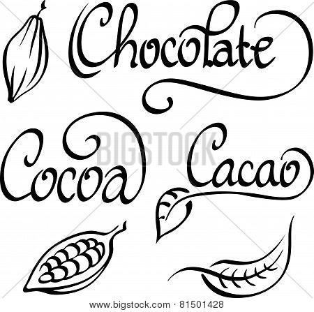 Chocolate, Cocoa, and Cacao Script Text