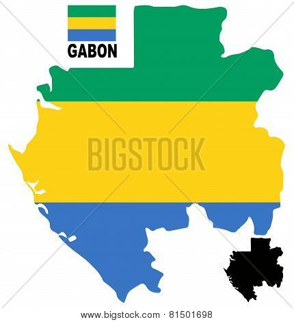 Gabon - Map and flag vector