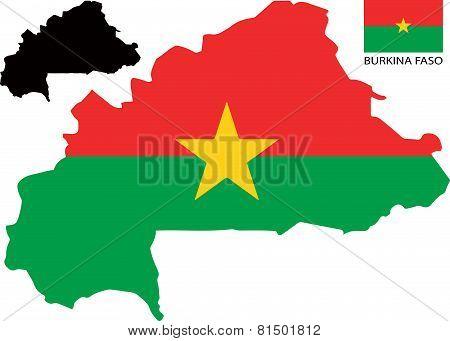 Burkina Faso - Map and flag vector