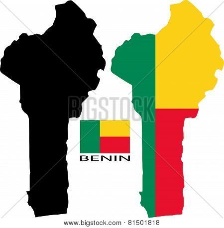 Benin - Map and flag vector