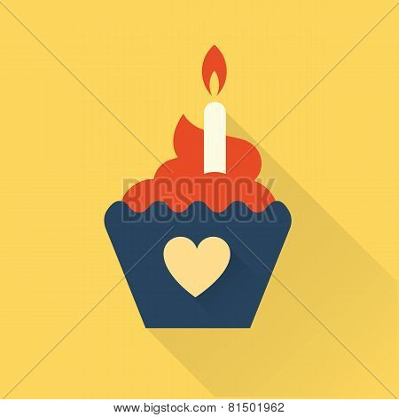bithday cupcake flat style illustration