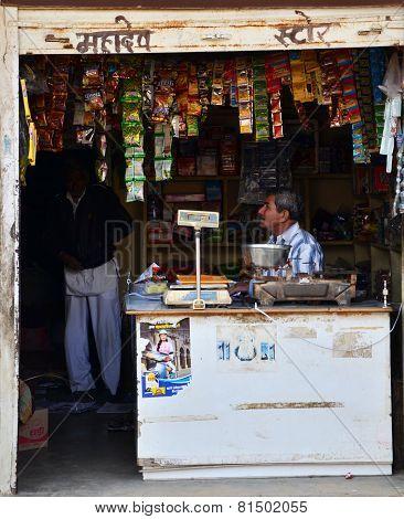 Jodhpur, India - January 1, 2015: Unidentified Indian Man Selling Snack At Market In Jodhpur.