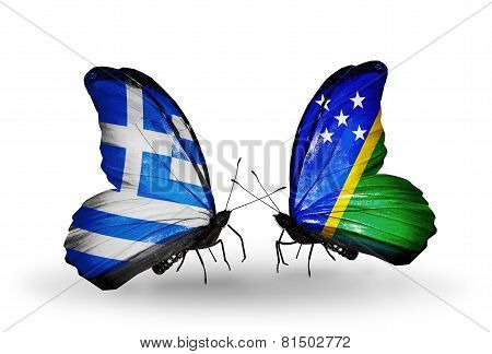 Two Butterflies With Flags On Wings As Symbol Of Relations Greece And Solomon Islands