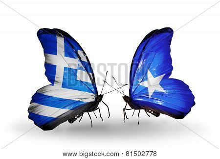 Two Butterflies With Flags On Wings As Symbol Of Relations Greece And Somalia