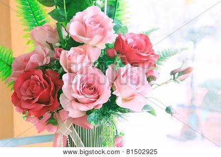 Close Up Of Roses Flowers Bouquet Decorated In Home Interior With Copy Space Use As Background ,back