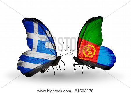 Two Butterflies With Flags On Wings As Symbol Of Relations Greece And Eritrea