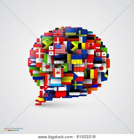 World flags in form of speech bubble