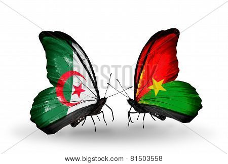 Two Butterflies With Flags On Wings As Symbol Of Relations Algeria And Burkina Faso