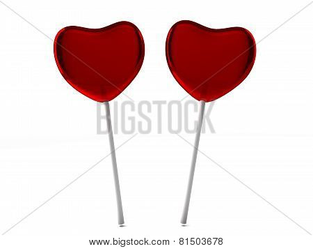 Red Candies On A Stick Isolated On White Background
