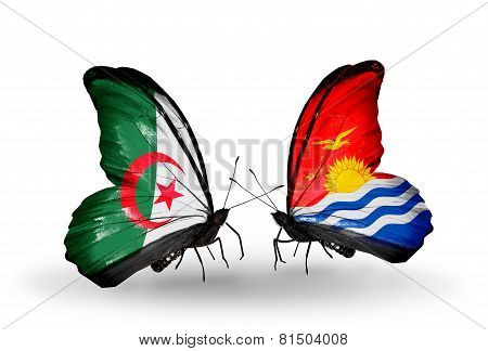 Two Butterflies With Flags On Wings As Symbol Of Relations Algeria And Kiribati