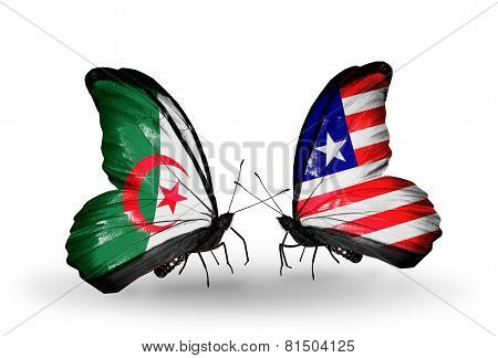 Two Butterflies With Flags On Wings As Symbol Of Relations Algeria And Liberia