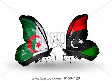 Two Butterflies With Flags On Wings As Symbol Of Relations Algeria And Libya
