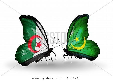 Two Butterflies With Flags On Wings As Symbol Of Relations Algeria And Mauritania