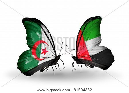 Two Butterflies With Flags On Wings As Symbol Of Relations Algeria And United Arab Emirates