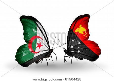 Two Butterflies With Flags On Wings As Symbol Of Relations Algeria And Papua New Guinea