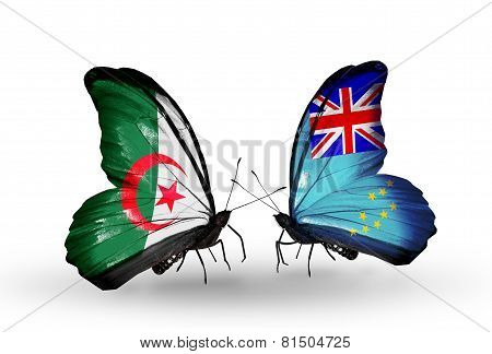Two Butterflies With Flags On Wings As Symbol Of Relations Algeria And Tuvalu