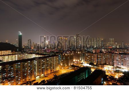 Cityscape in night in Hong Kong, China, Asia.