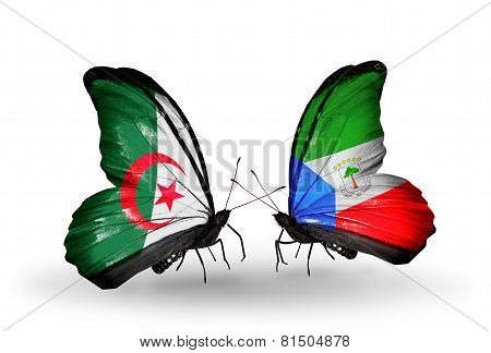 Two Butterflies With Flags On Wings As Symbol Of Relations Algeria And Equatorial Guinea