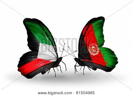 Two Butterflies With Flags On Wings As Symbol Of Relations Kuwait And Afghanistan