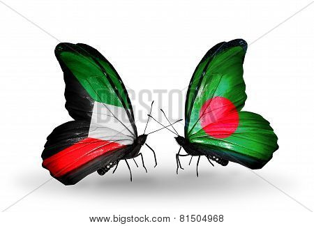 Two Butterflies With Flags On Wings As Symbol Of Relations Kuwait And Bangladesh