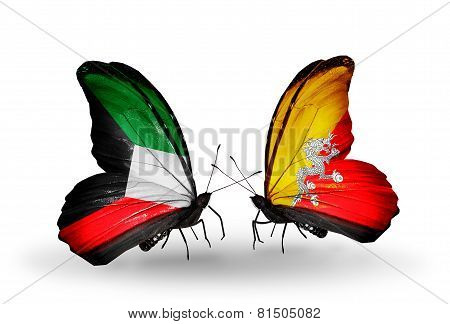 Two Butterflies With Flags On Wings As Symbol Of Relations Kuwait And Bhutan