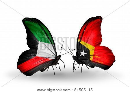 Two Butterflies With Flags On Wings As Symbol Of Relations Kuwait And East Timor