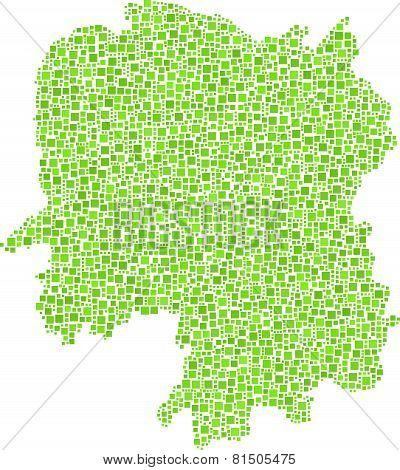 Isolated map of Hunan - China -