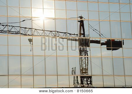 Reflection Of A Crane