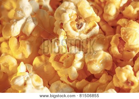 Sweet Popcorn Background In Closeup