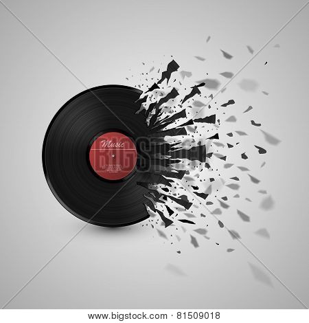 Abstract music background. Vinyl disk explosion