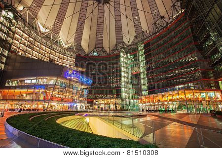 Sony Center on Potsdamer Platz at night