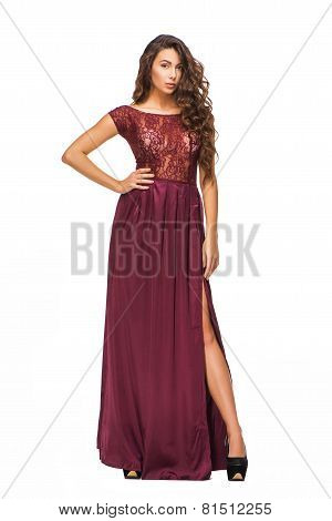 Attractive young woman wearing evening dress
