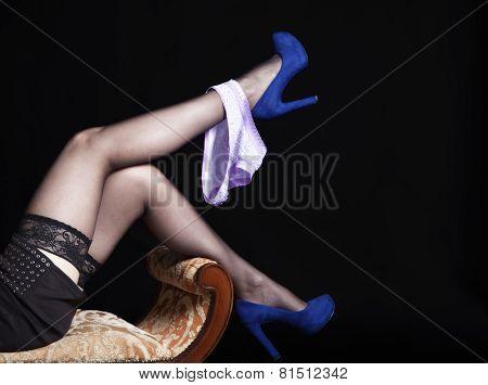 Slender Legs Lying Girl In Black Stockings With Panties
