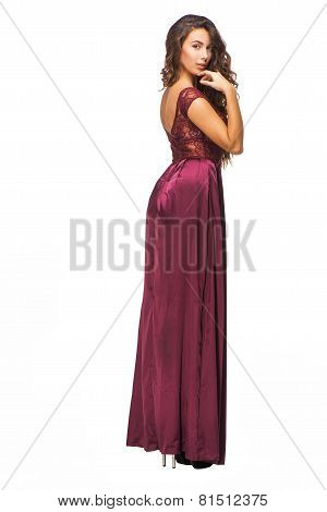 Back view photo of woman wearing evening dress