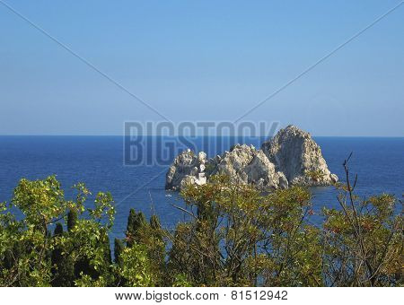 Rock In Sea, Gursuf In Crimea, Black Sea, Ukraine.