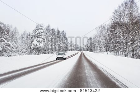 Winter countryside road