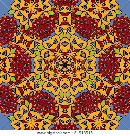 Unusual seamless oriental art backdrop. Geometric mandala unusual wallpaper. Indian carpet