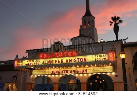 SANTA BARBARA - JAN 30:  Jennifer Aniston Marquee SBIFF at the Santa Barbara International Film Festival - Montecito Award at a Arlington Theater on January 30, 2015 in Santa Barbara, CA