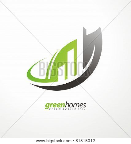 Dream apartments business logo design vector concept