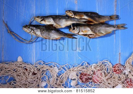 Dried Rudd Fish And Fishing Net On Blue Background