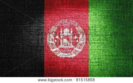 Afghanistan flag on burlap fabric