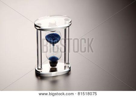 close up of the transparent hour glass